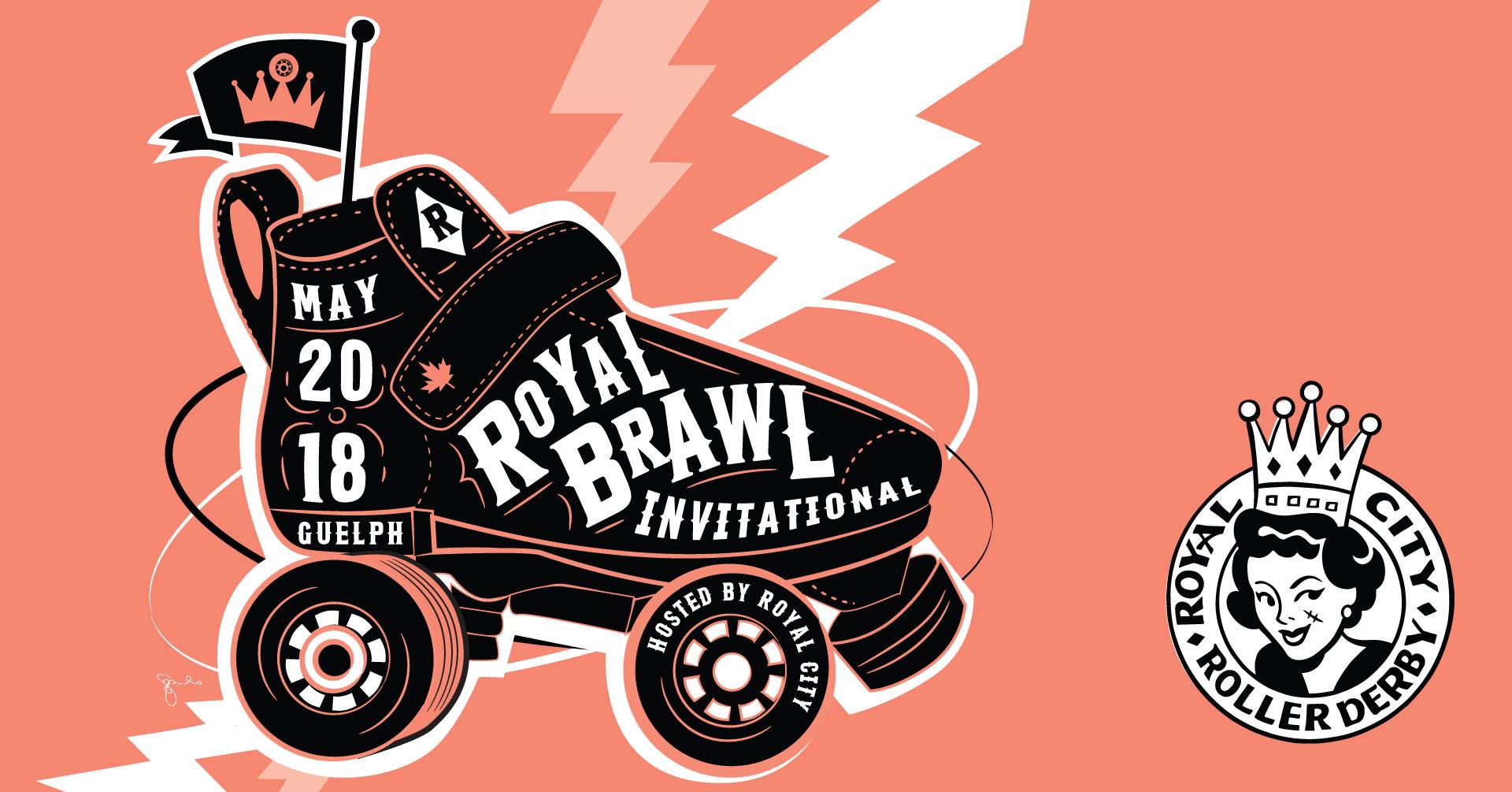 Royal Brawl roller skate logo beside RCRD logo. Graphics credit Cai Sepulis.