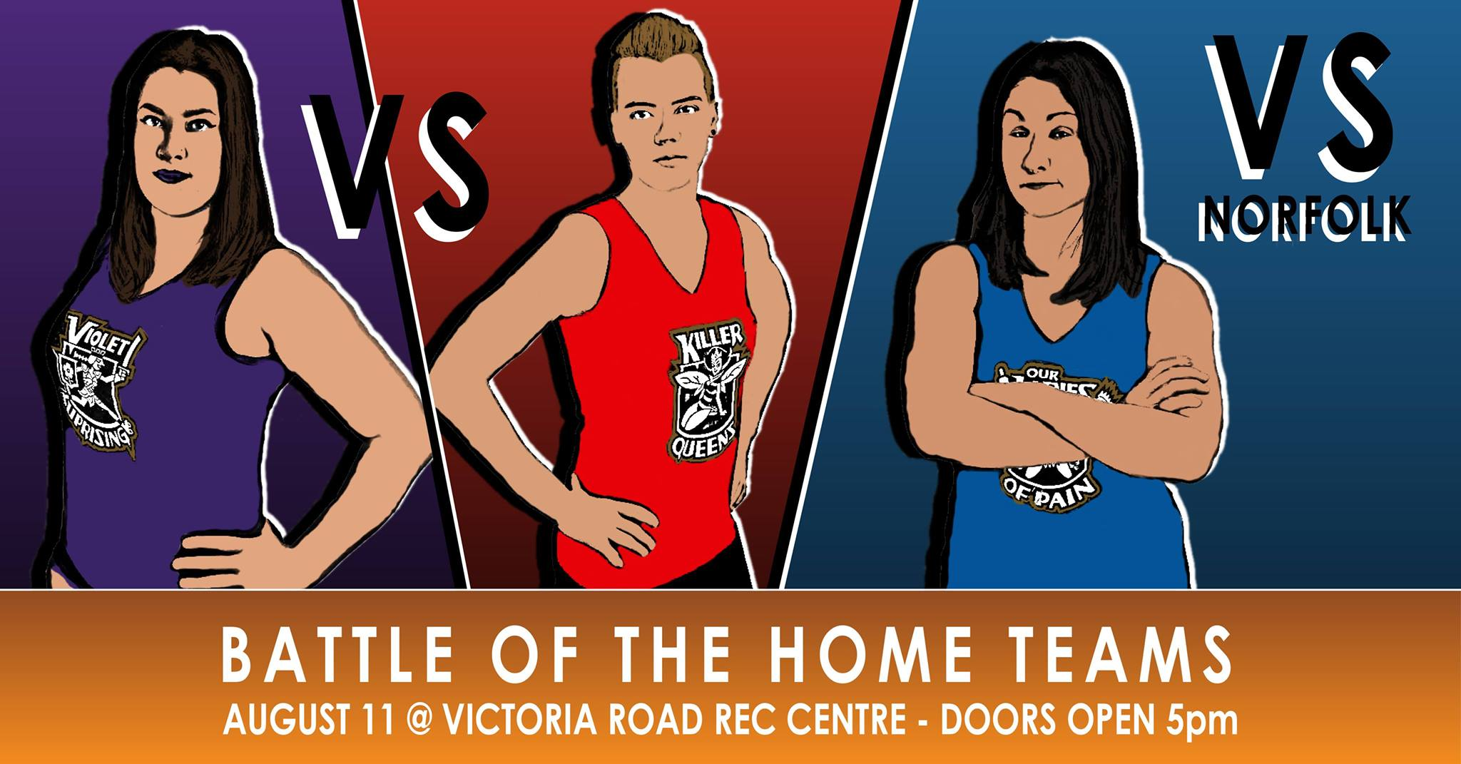 A poster advertising the bout on June 23rd. A red Killer Queens skater faces off against a purple Violet Uprising skater.